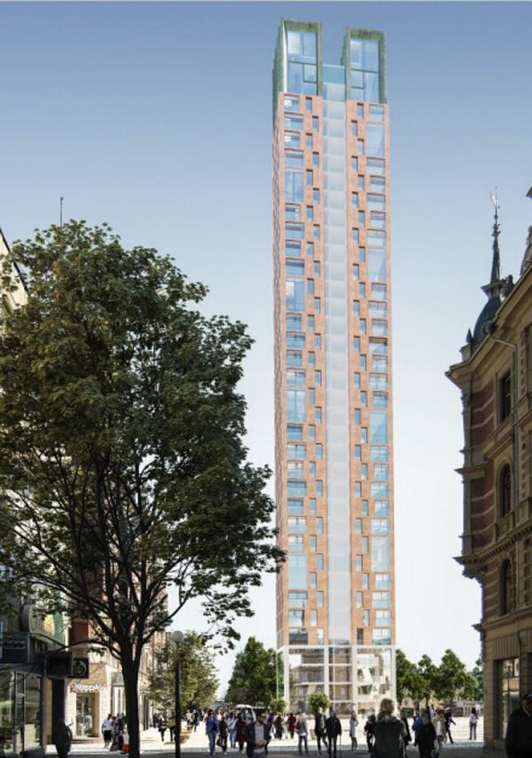 Torg 1, det planerade 38-våningshuset på torget i Sundsvall (illustration: Wingårdhs)